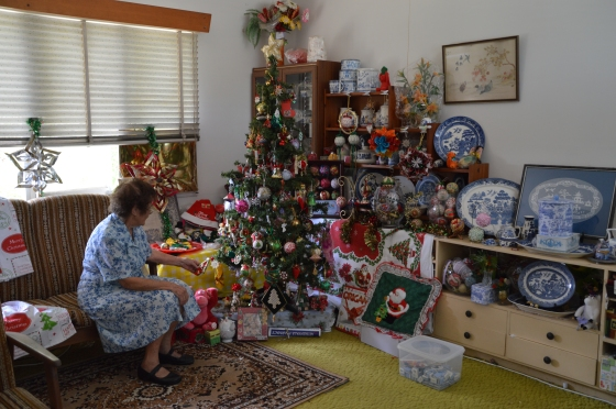 Some of Grandma's Willow ware collection can be seen underneath all the Christmas in this photo